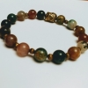Agate Buddha Bracelet - Multi-Color Earth-tone Beaded and Brass