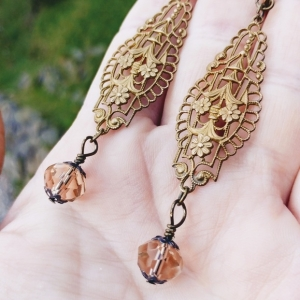 Vintage Brass Filigree and Champagne Bead Dangle Earrings