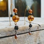 Amber Czech Glass with Brass Roses Handmade Earrings