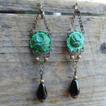 BohoChic Verdigris Roses and Black Teardrop Earrings