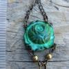 BohoChic Verdigris Roses and Black Teardrop Earrings