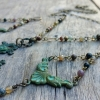 Earrings and Necklace Set - Verdigris Fleur de Lis Boho Art Neuveau