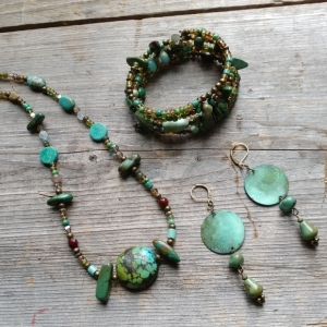 Boho Multi Gemstone Glass and Brass Necklace Earring and Bracelet Set