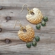 Hammered Gold Horseshoe Daisies Chandelier Pendant Earrings