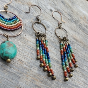 Rainbow Brass Beaded Dangle Fringe Earrings