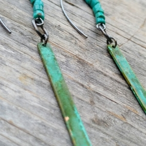 Verdigris Brass Bar and Genuine Turquoise Dangle Earrings